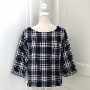 Madewell Bedford Plaid Boxy Tee in Ink Blue